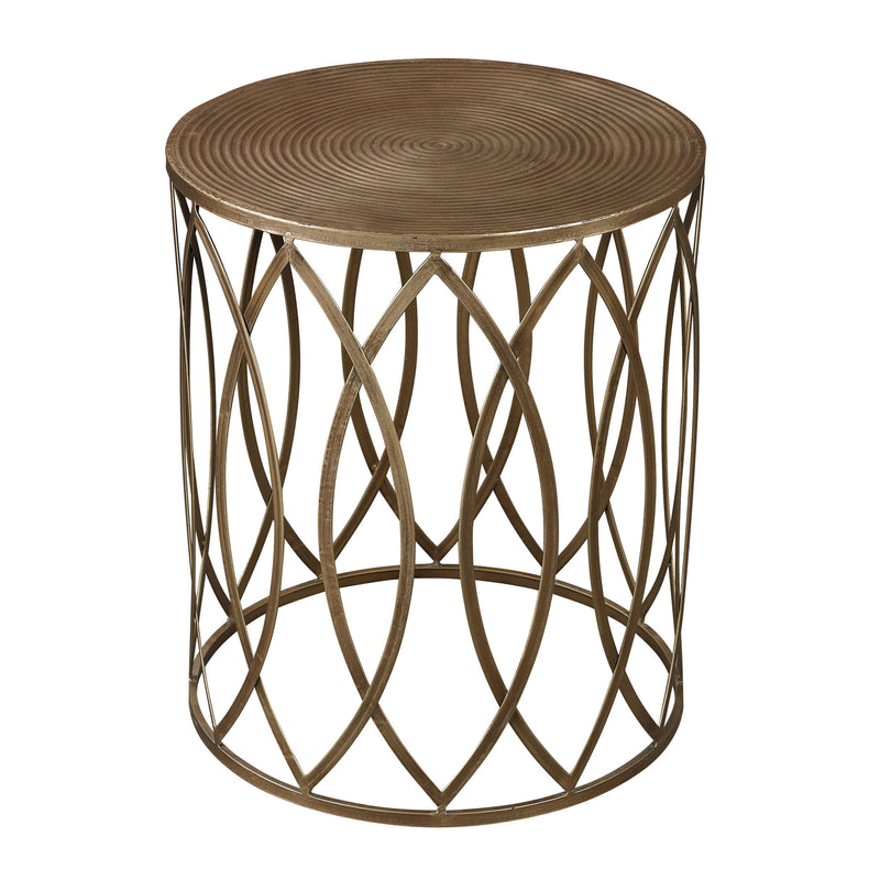 Accent Table In Gold Leaf - Champagne Antique