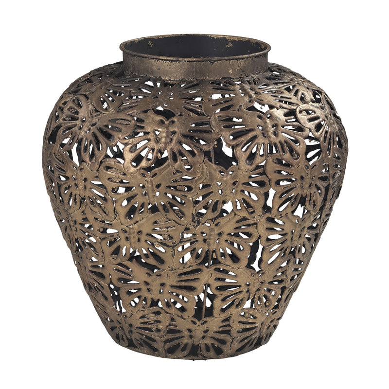 Butterfly Filigree Planter - Gold Leaf Base With Heavy Brown Antique Wash.
