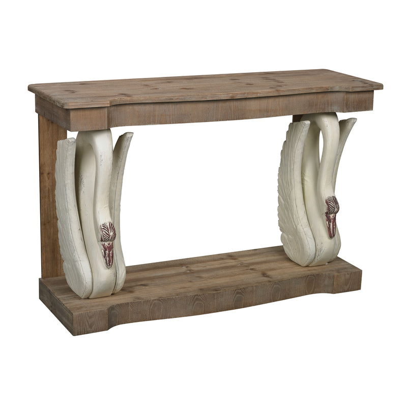 SWAN ACONSOLE WITH WOODEN TOP - ANTIQUE WHITE / WASHED PINE