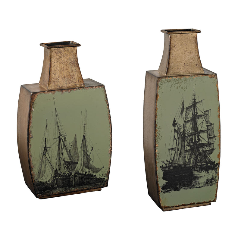 SET OF 2 METAL VASES WITH SHIP PRINT - MINT WITH SANDBAR BRONZE