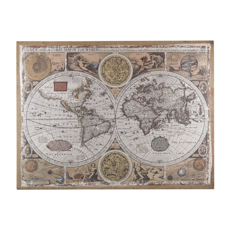 Antique Style World Map Wall Art - Aged Parchment