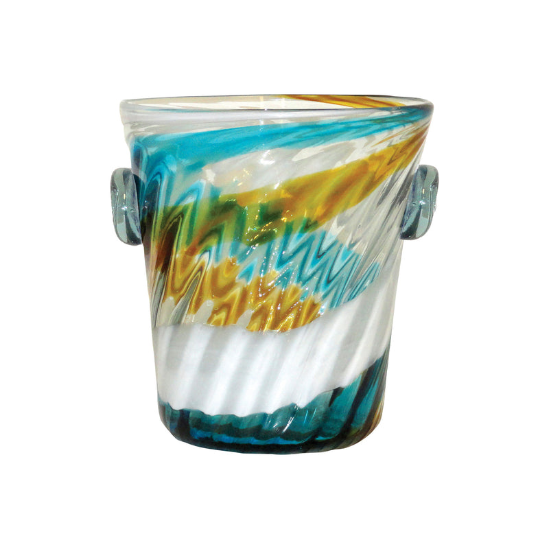Seascape Ice Bucket - Aqua,Amber,White Spiral
