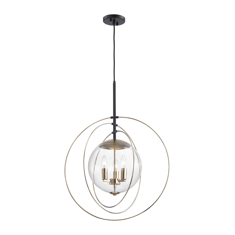 Zonas 3 Light Chandelier In Polished Gold And Oil Rubbed Bronze - Polished Gold,Oil Rubbed Bronze