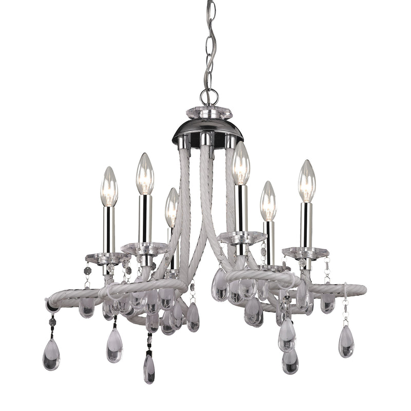 CLEAR ACRYLIC MINI CHANDELIER - CHROME