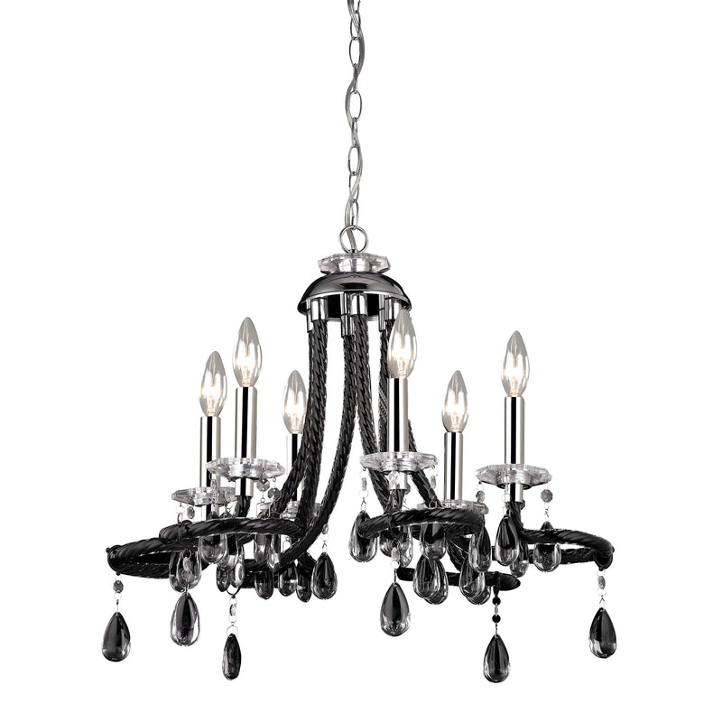 BLACk ACRYLIC MINI CHANDELIER - CHROME