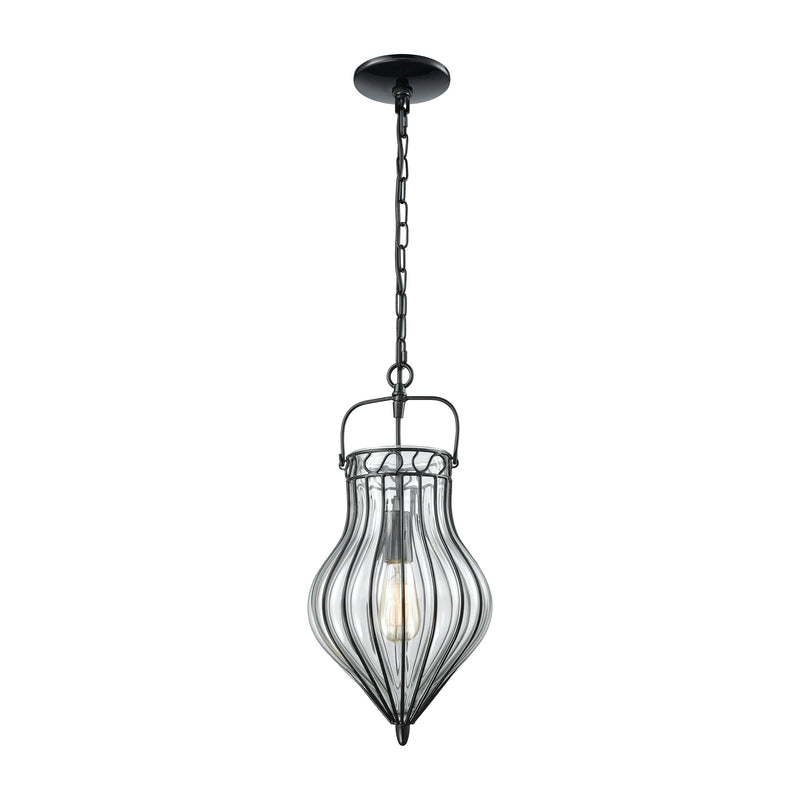 Adriano 1 Light Pendant In Gloss Black With Clear Blown Glass - Gloss Black
