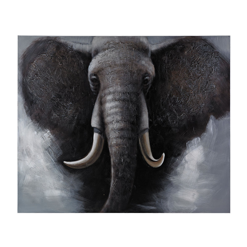 AFRICAN  ELEPHANT - OVERSIZED OIL ON CANVAS - _