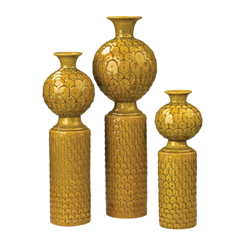 SET OF 3 CERAMIC VASES IN CHARTRUESE GLAZE - CHARTRUESE