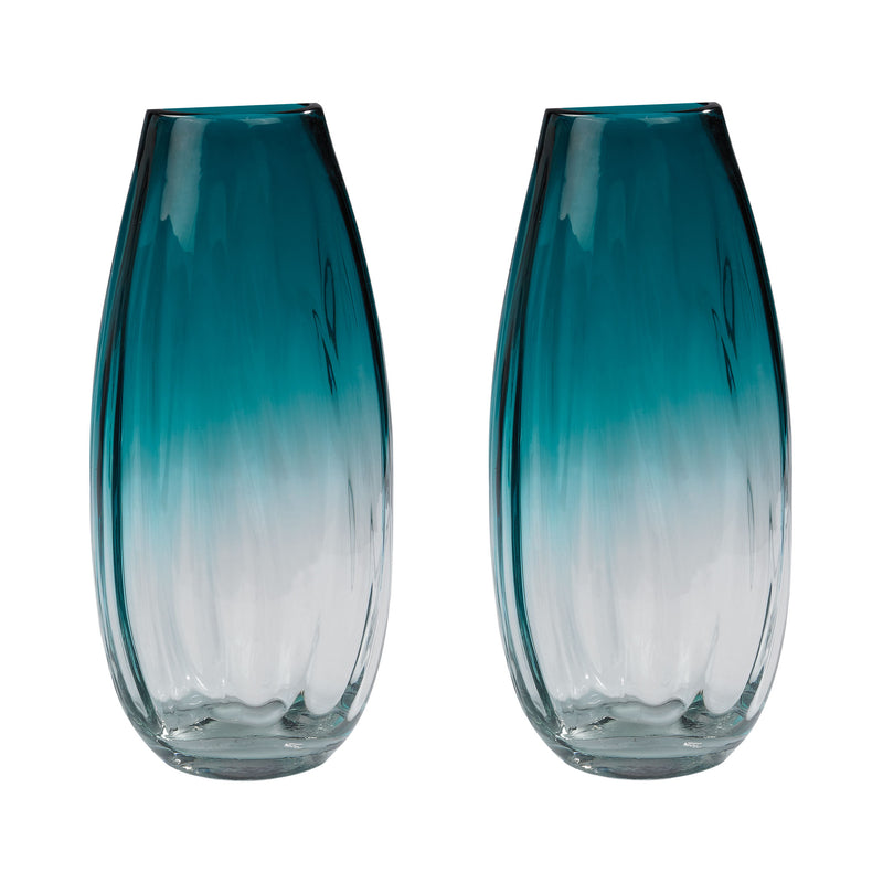 Aqua Ombre Vases - Set of 2. Aqua