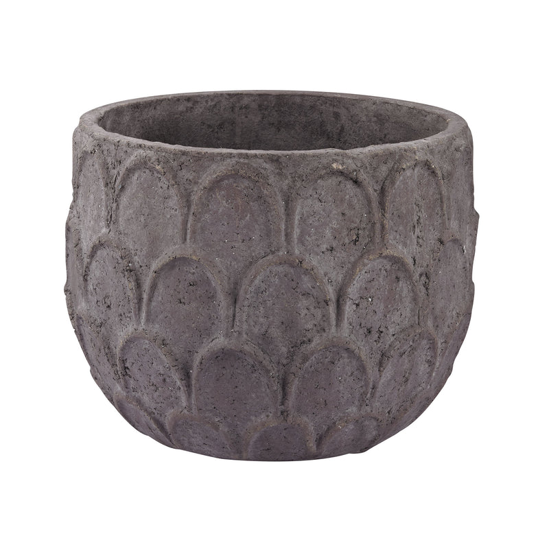 Aged Powdered Lotus Petal-Carved Pot - Small. Dark Grey Stone