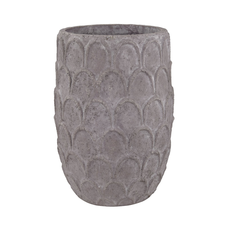 Aged Powdered Lotus Petal-Carved Pot - Large. Dark Grey Stone