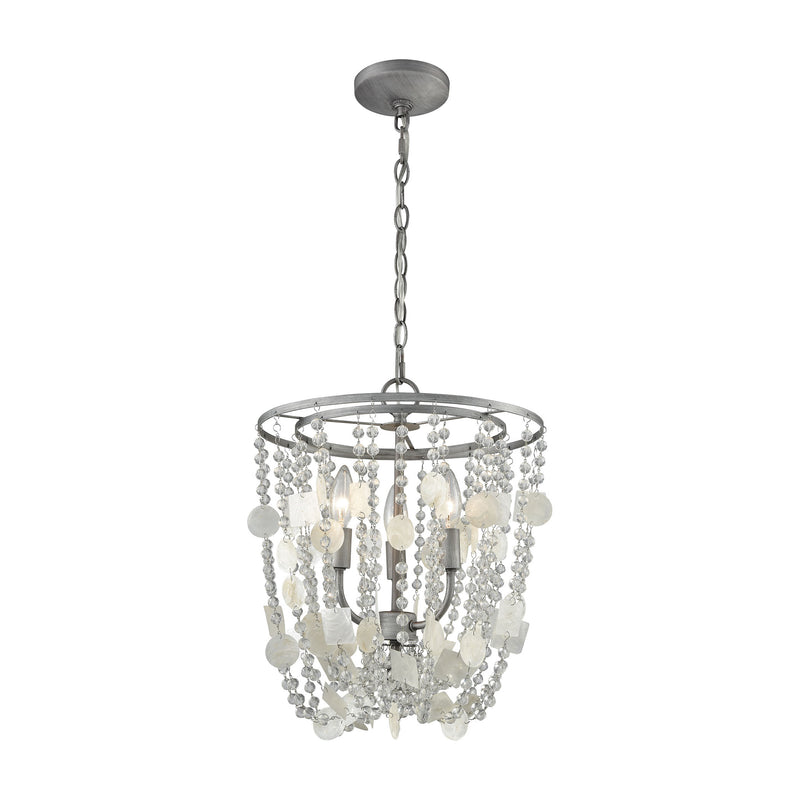 Alexandra 3 Light Chandelier In Weathered Zinc With Capiz Shells And Clear Crystal - Weathered Zinc