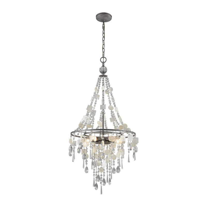 Alexandra 5 Light Chandelier In Weathered Zinc With Capiz Shells And Clear Crystal - Weathered Zinc