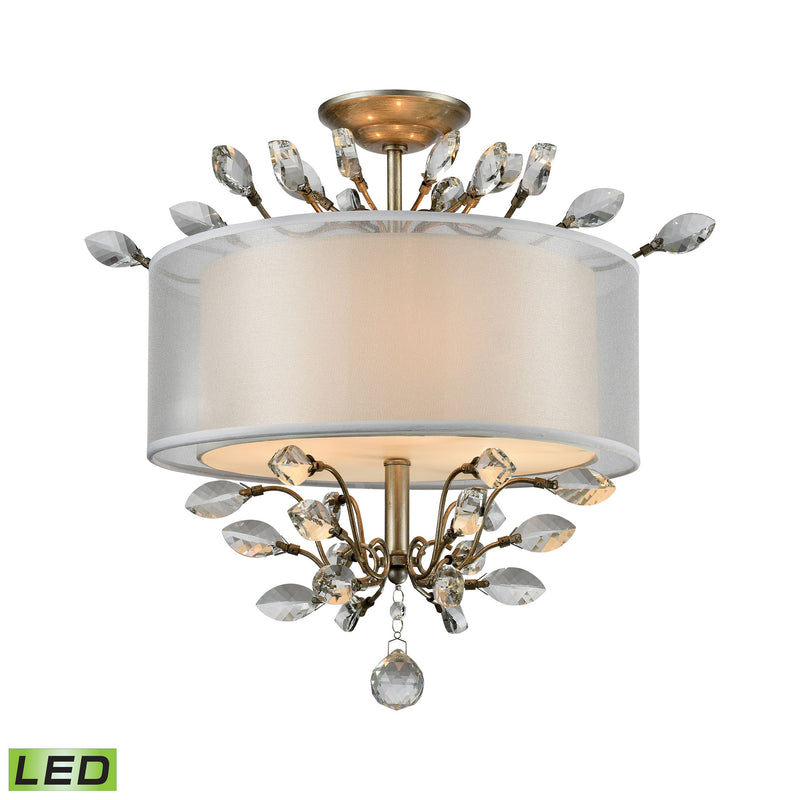 Asbury 3 Light LED LED Semi Flush In Aged Silver - Aged Silver
