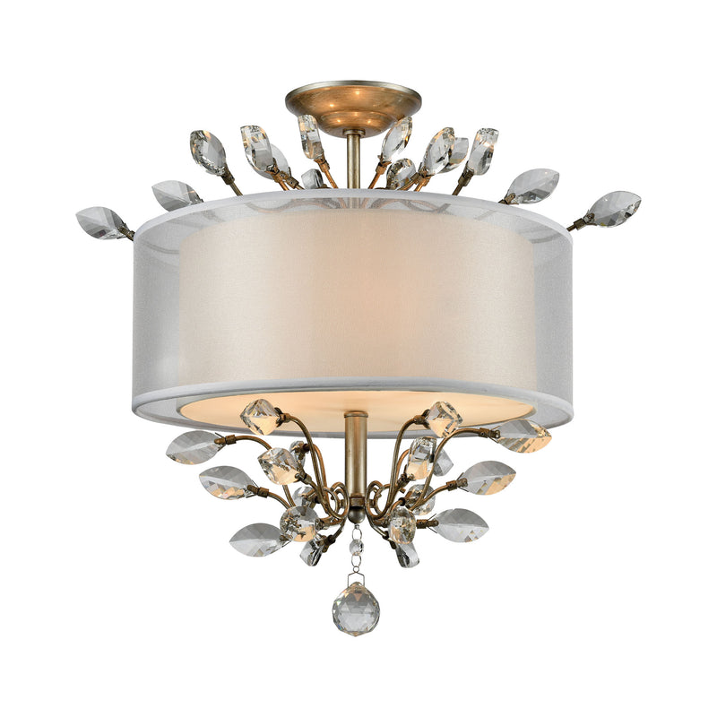 Asbury 3 Light LED Semi Flush In Aged Silver - Aged Silver