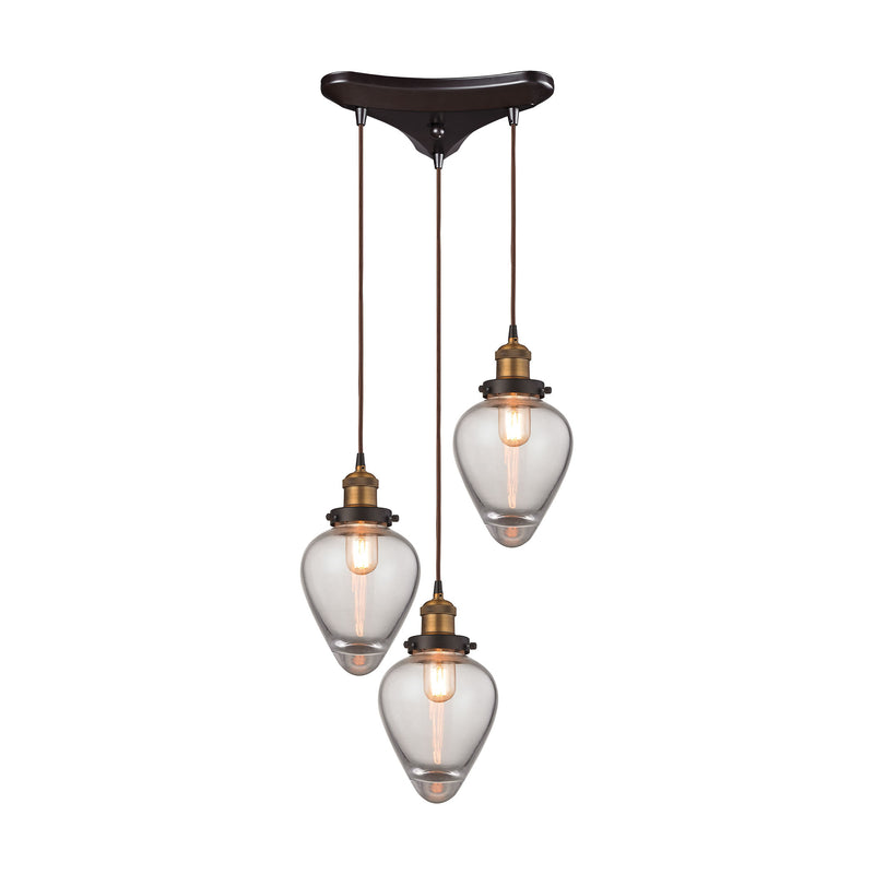Bartram 3 Light Pendant In Oil Rubbed Bronze And Antique Brass - Oil Rubbed Bronze,Antique Brass