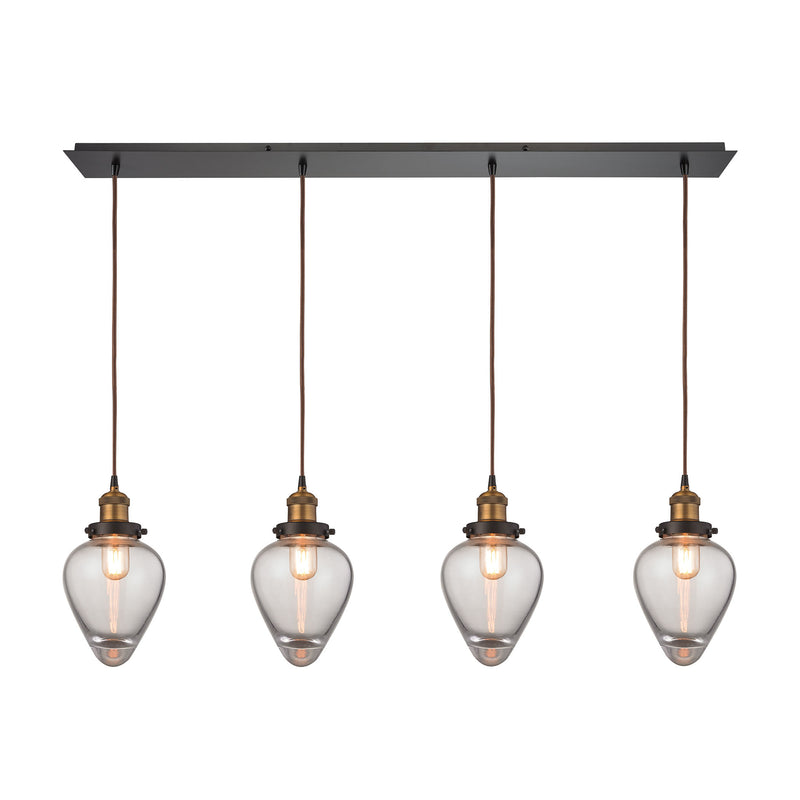 Bartram 4 Light Pendant In Oil Rubbed Bronze And Antique Brass - Oil Rubbed Bronze,Antique Brass