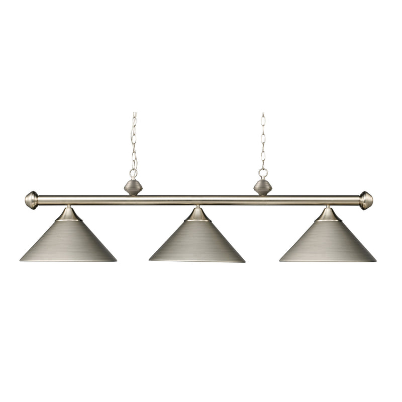 Casual Traditions 3 Light Billiard In Satin Nickel With Matching Metal Shades - Satin Nickel