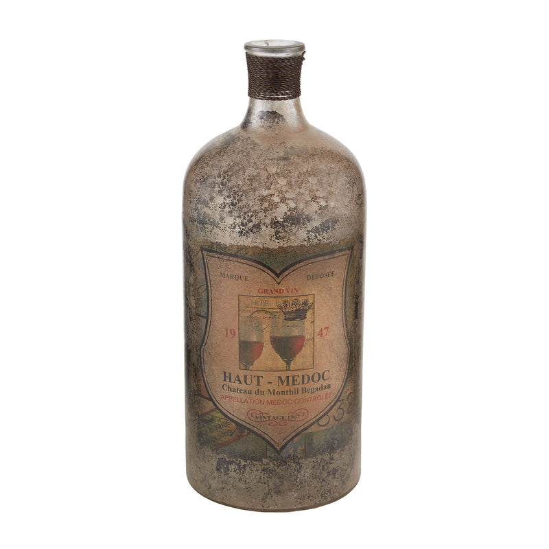12-Inch Aged Mercury Glass Bottle - Aged Mercury