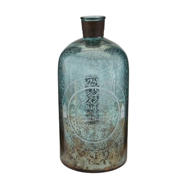 18-Inch Aqua Antique Mercury Glass Bottle - Antique Mercury,Aqua