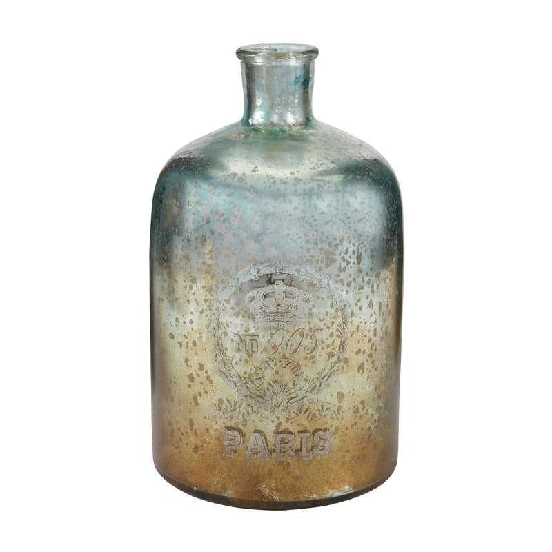 12-Inch Aqua Antique Mercury Glass Bottle - Antique Mercury
