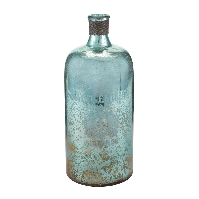 13-Inch Aqua Antique Mercury Glass Bottle - Antique Mercury