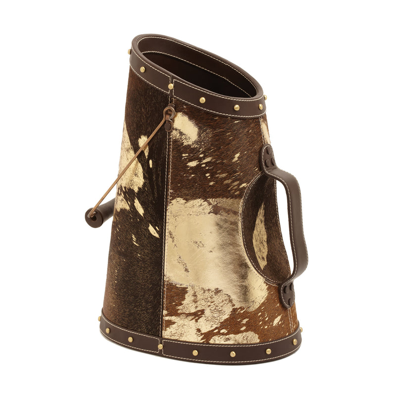 Gold Metallic Faux Pony Coal Bucket - Multi