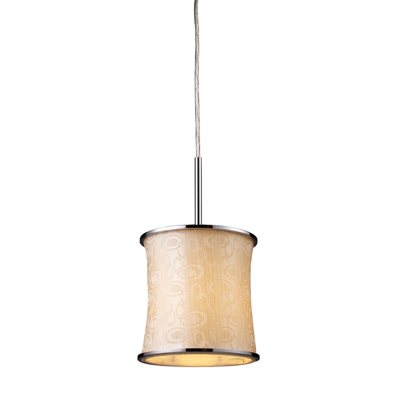 Fabrique 1-Light Drum Pendant in Polished Chrome and Retro Beige Shade** - POLISHED CHROME
