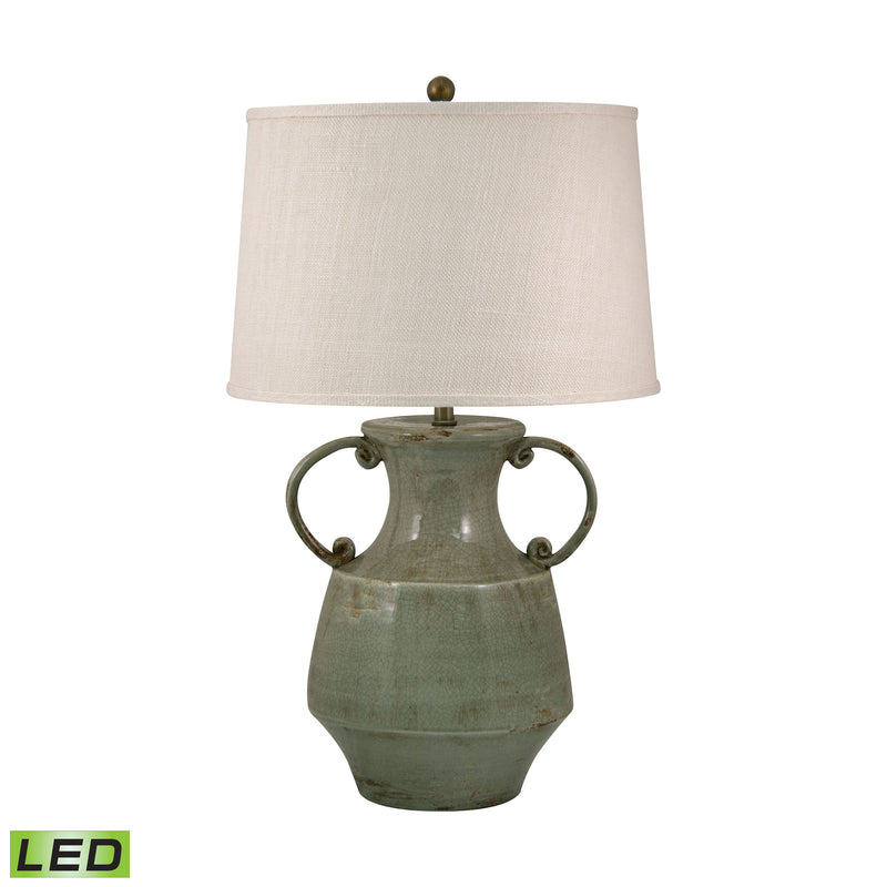 Antiqued Porcelain LED Table Lamp In Celadon Crackle Finish - Celadon