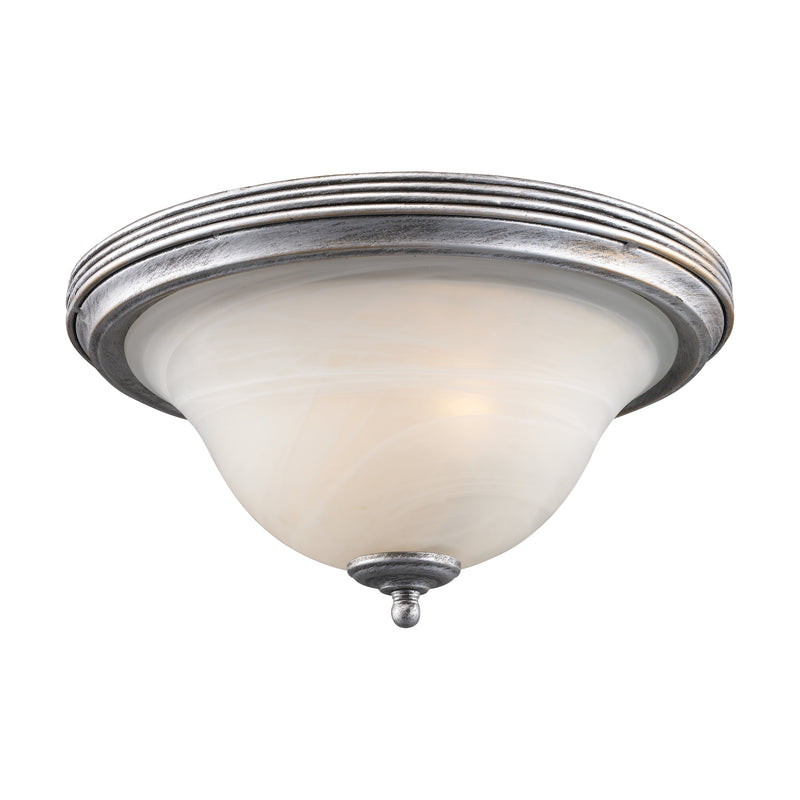 BUCkINGHAM 2-LT FLUSH MOUNT IN ANTIQUE SILVER W/WH GLASS - Antique Silver