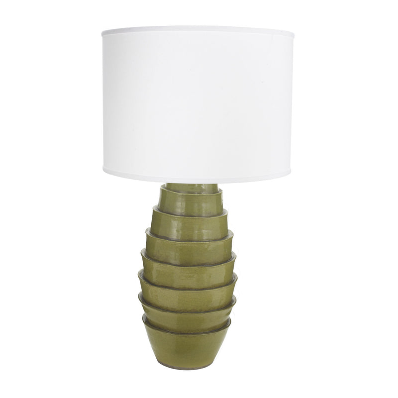 Spring Flaked Lamp with White Shade-kit Item - Green
