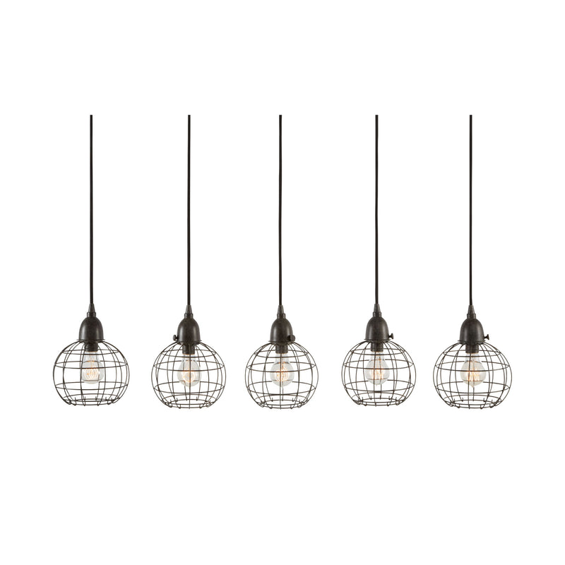 5 Light Wire Ball Pendant In Brown. Black