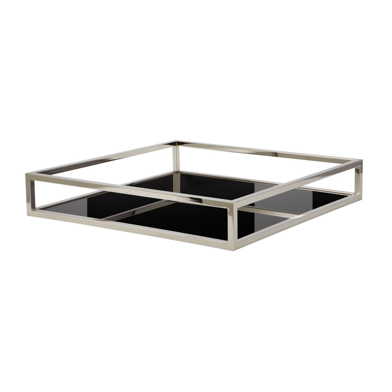 Black Box Square Rod Tray. Silver,Black