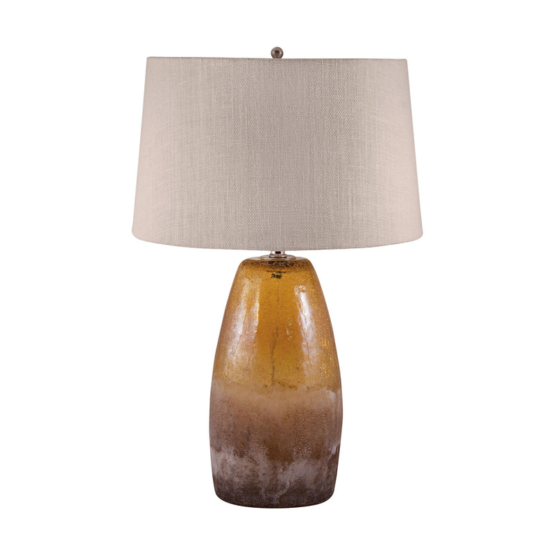Amber Crackle Arctic Glass Table Lamp - Amber Crackle