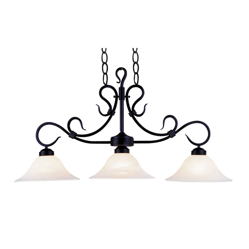 Buckingham 3 Light Island In Matte Black And White Faux Marble Glass - Matte Black