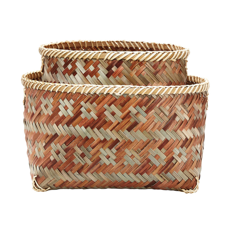 S/2 Woven Brown Sage Tonal Baskets - Gray