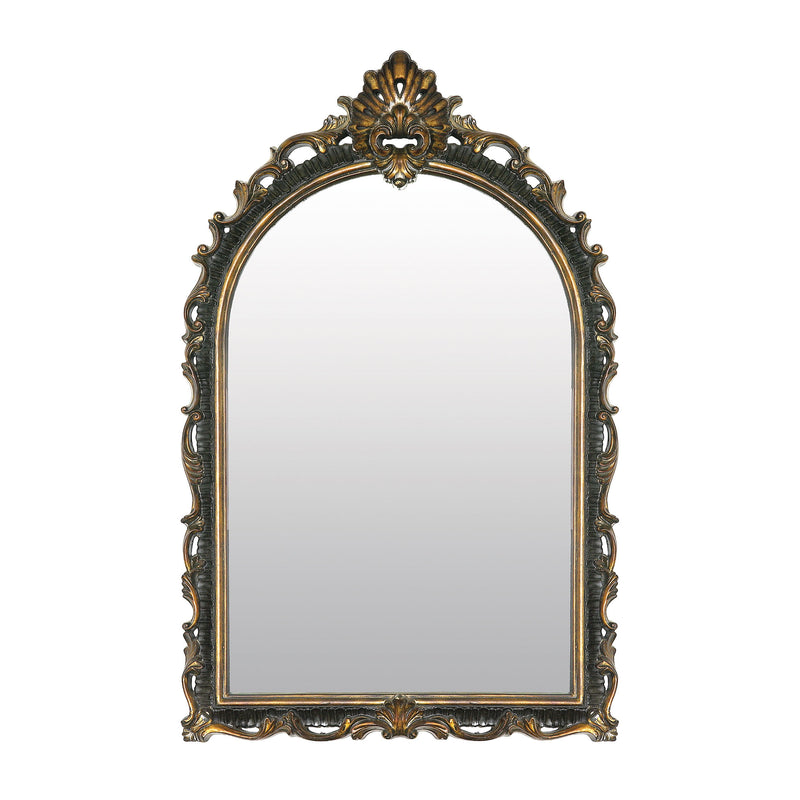 Acanthus Arched Mirror - Distressed Black