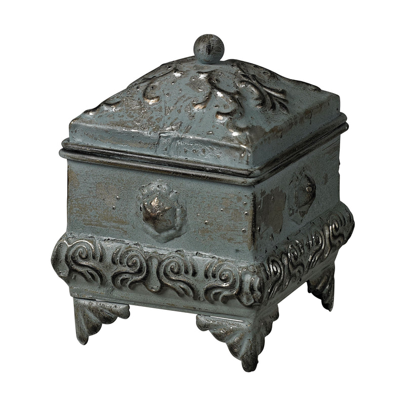 METAL kEEPSAkE BOX - AGED SILVER ON METAL WITH DISTRESSED GREEN FAUX PATINA