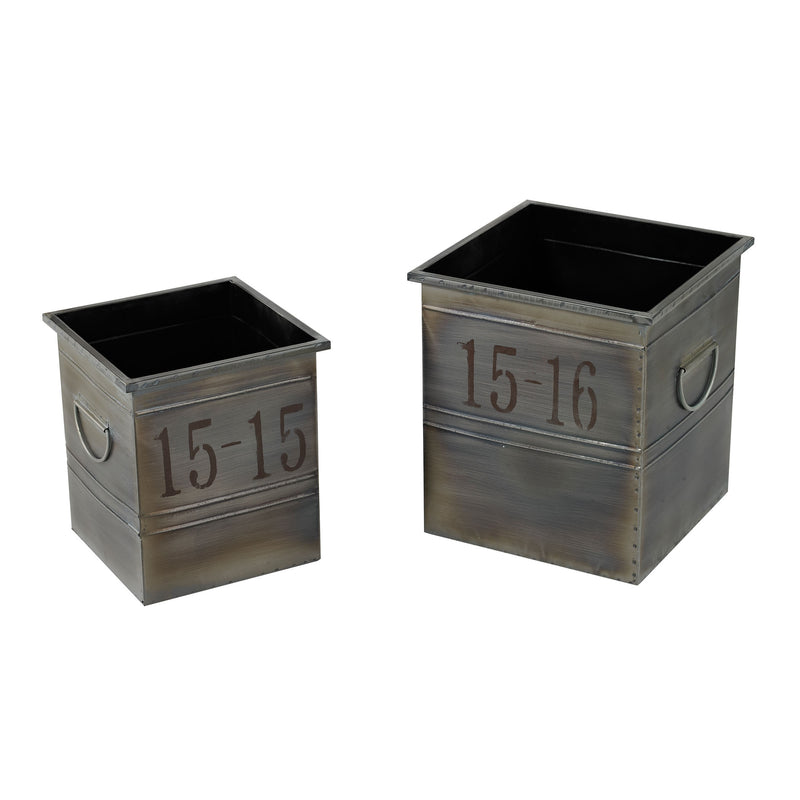 SET OF 2 INDUSTRIAL PLANTERS - Oxidised Metal