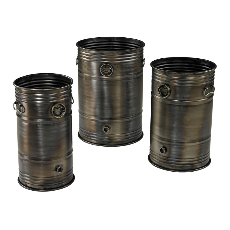 SET OF 3 INDUSTRIAL OIL DRUM PLANTERS - Oxidised Metal