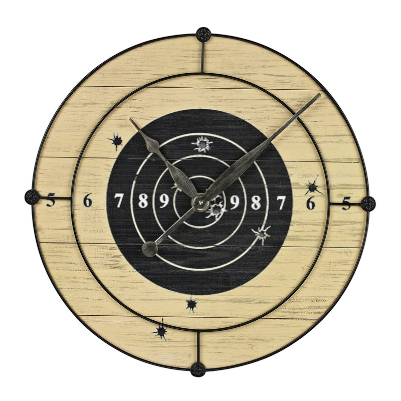 TARGET PRACTICE WALL CLOCk - Faux Bois With Black