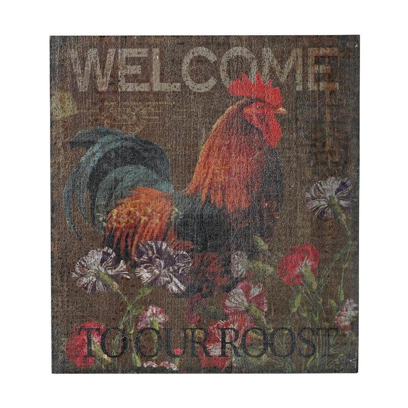 MIN 4-WELCOME TO OUR ROOST HAND PAINT ON WOOD - HAND PAINTED