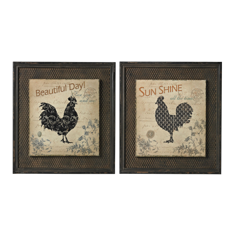MIN 2-ROOSTER PRINTS ON WOOD SET IN WIRE MESH MATTING - DISTRESSED BLACk