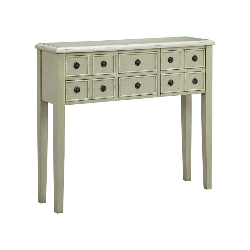 Chesapeake Table in Antique Brass,Hand-Painted,Grey