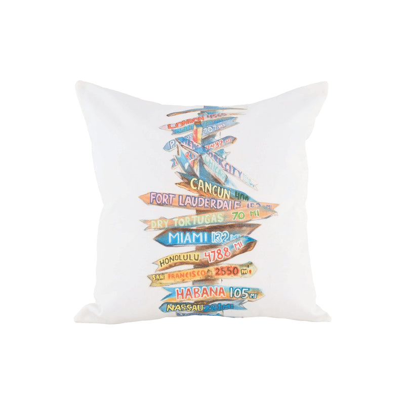 Beach Sign Pillow - Handpainted Art