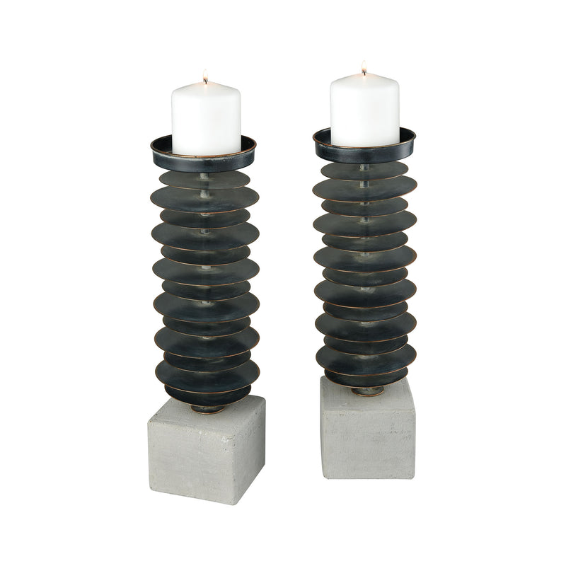 Prometheus Set of 2 Candle Holders - Polished Concrete