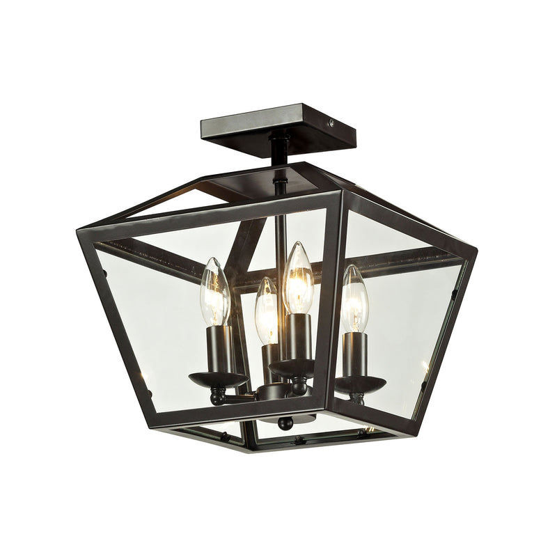 Alanna 2 Light Flush Mount In Oil Rubbed Bronze And Clear Glass - Oil Rubbed Bronze
