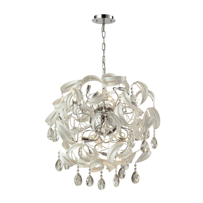 Zebula 16 Light Chandelier In White - White