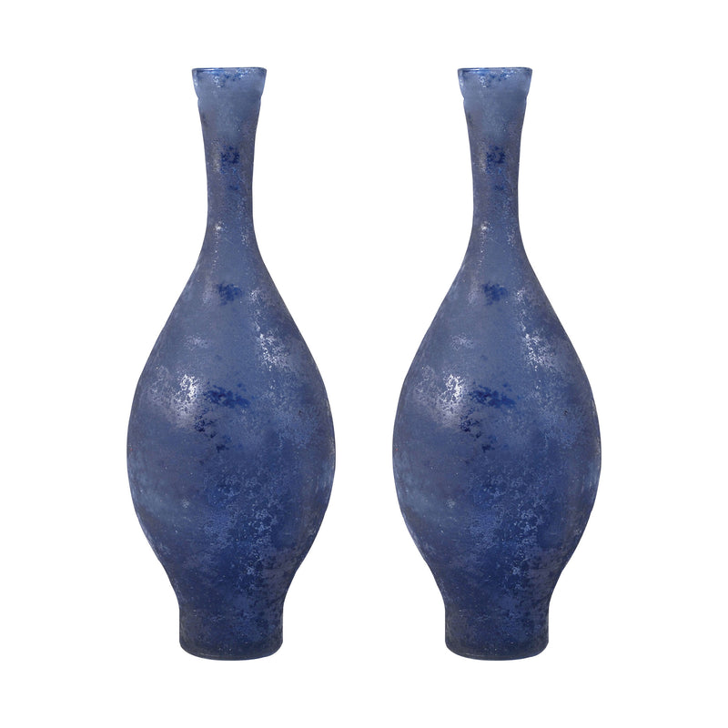 "Atlas Set of 2 Vases 15.75"" - Textured Marina"