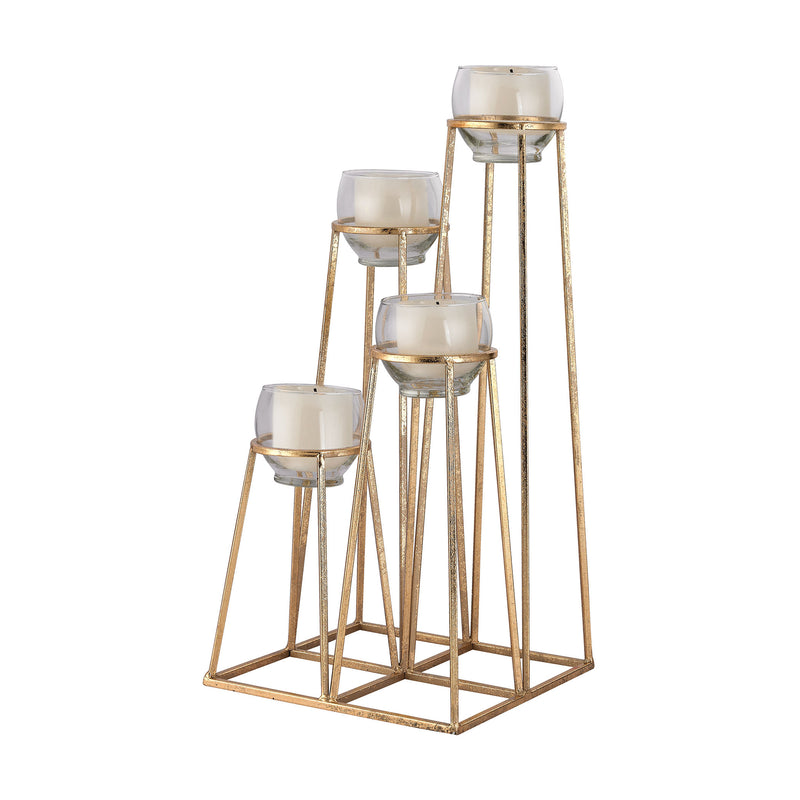 Skyline Cupped Tea Light Holder - Gold Leaf